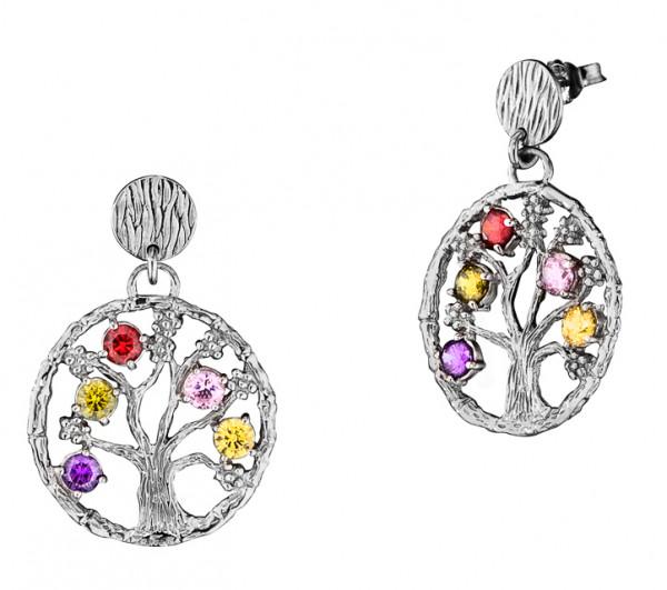 Ohrstecker, Lebensbaum Silber rhodiniert mit 5 Zirkonia bunt Ø 2,4 cm, Julie Julsen