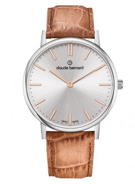 Claude Bernard Classic Two Hands Slim Line Silber Quarz Uhr - 20214-3-AIR
