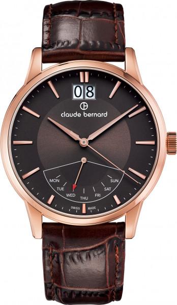 Claude Bernard Classic Big Date Retrograde Rose Braun Quarz Uhr - 41001-37R-BRIR