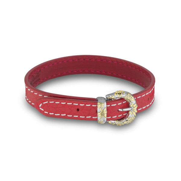 Gexist Edelweiss Leder Armband Rot Bicolor - BG-9006
