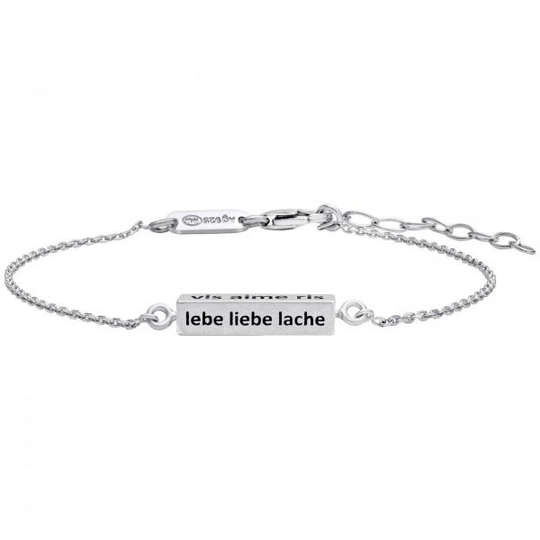 Julie Julsen Cube Armband Silber Lebe, Liebe, Lache - JJBR0450.1.10