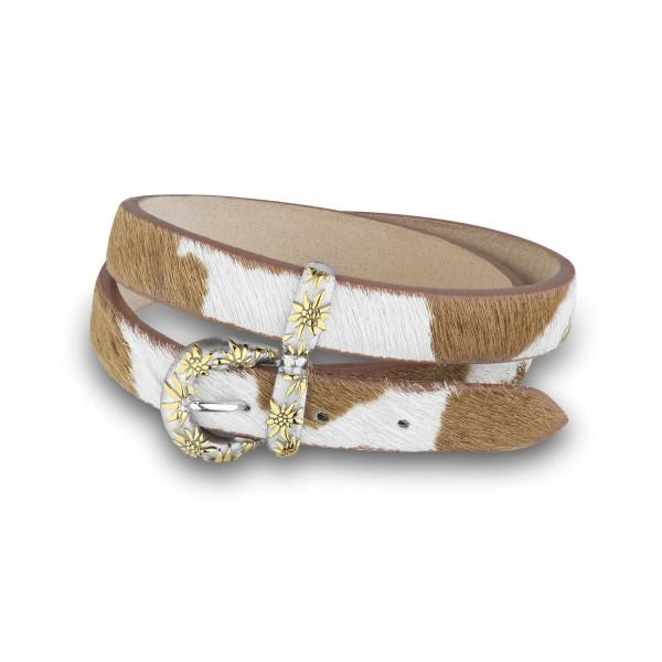 Gexist Edelweiss Leder Doppel-Armband Braun Weiss Bicolor - BG-9013