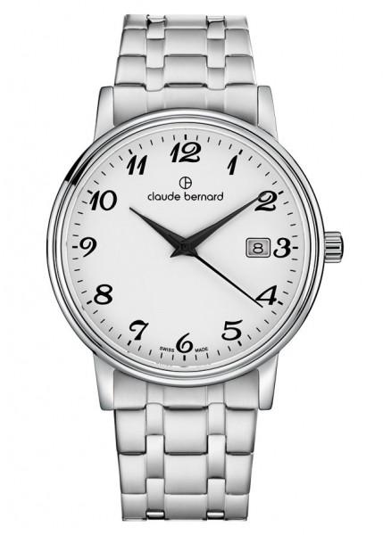 Claude Bernard Schweizer Quarz Uhr Classic Gents Ladies Silber Stahl - 53007-3M-BB_1
