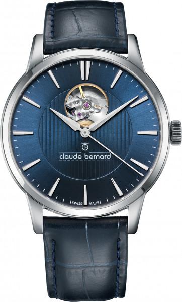 Claude Bernard Classic Automatic Open Heart Silber Blau - 85017-3-BUIN