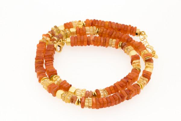 Steinkette Karneol und Citrin Gold