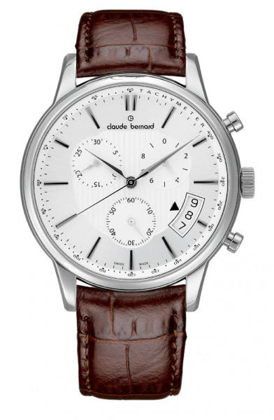 Claude Bernard Classic Quarz Chronograph Silber Weiss - 01002-3-AIN