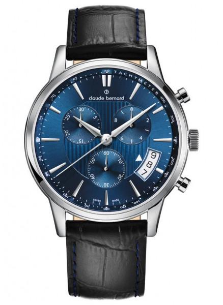 Claude Bernard Classic Quarz Chronograph Silber Blau - 01002-3-BUIN