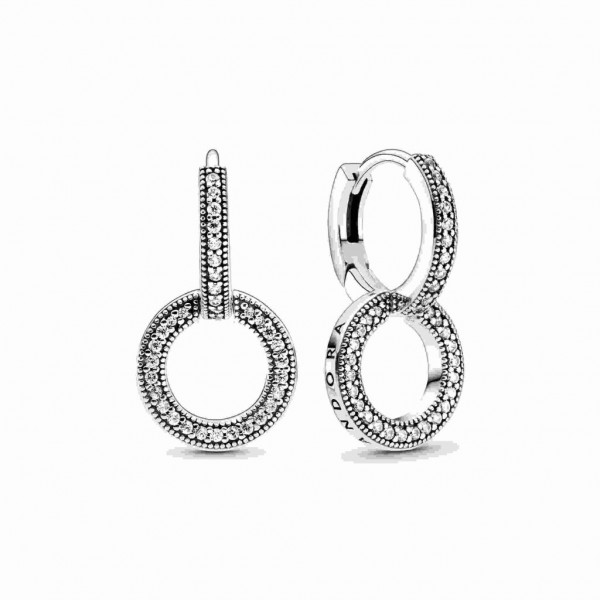 PANDORA Logo and Circles Hoop Ohrringe - 299052C01