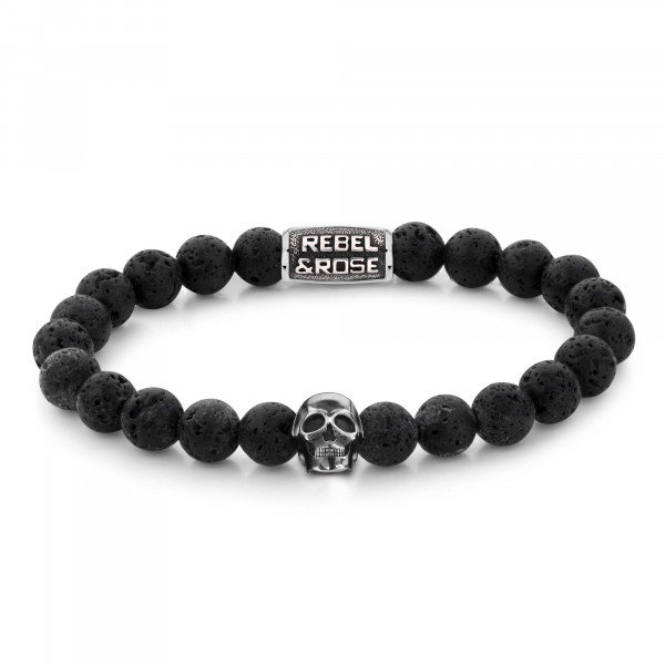 Rebel & Rose Stones Skull Black Moon