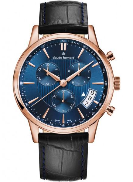 Claude Bernard Classic Quarz Chronograph Rose Blau - 01002-37R-BUIR