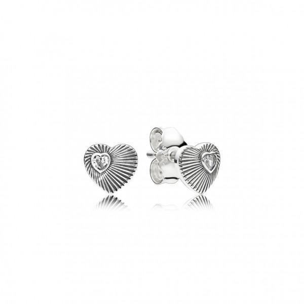 PANDORA Earring studs Vintage Heart Fans - 297298CZ