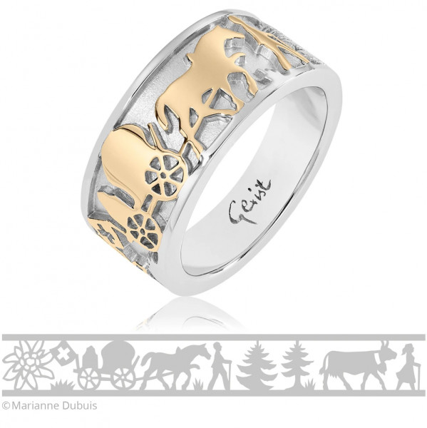Gexist Swiss Edelweiss Ring Senn und Kühe Bicolor