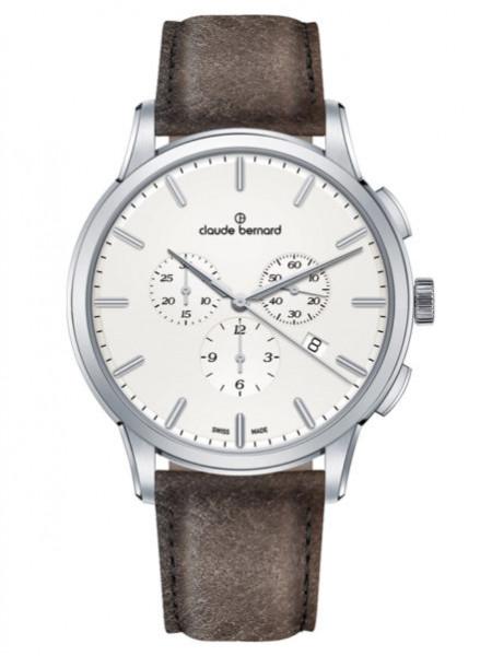 Claude Bernard Schweizer Classic Chronograph Silber Weiss - (10237-3-AIN1)