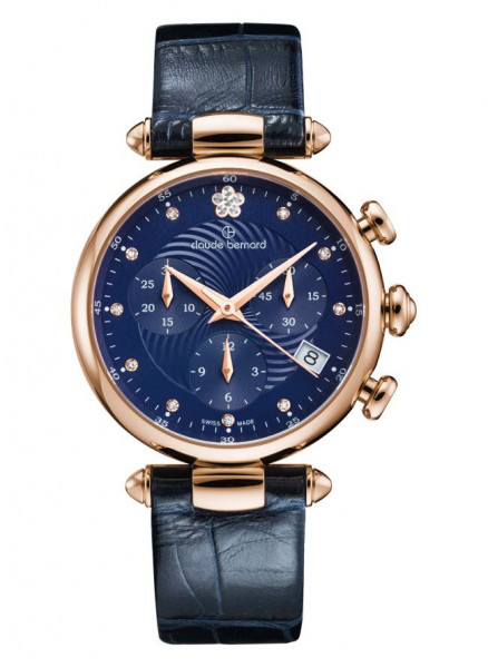 Claude Bernard Dress Code Lady Rose Blau Quarz Chronograph - 10215-37R-BUIFR2