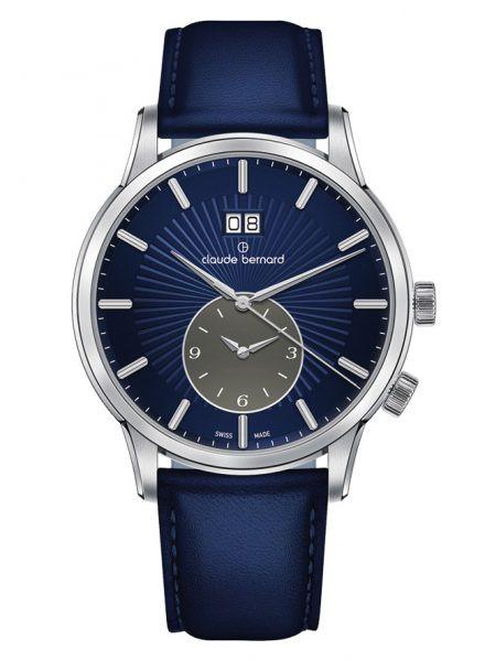 Claude Bernard Classic 2nd Time Zone Silber Blau - 62007-3-BUIGN