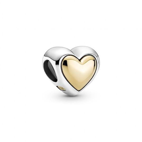 Pandora Charm Zweifarbiges Gewölbtes Goldenes Herz - 799415C00