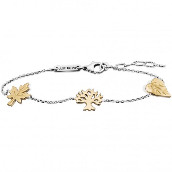 Silber Armband mit Blatt-Baum-Ahornblatt gelbvergoldet, Julie Julsen Petite Collection .JJBR9825.5