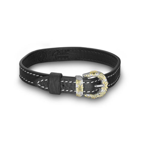 Gexist Edelweiss Leder Armband Schwarz Bicolor - BG-9042