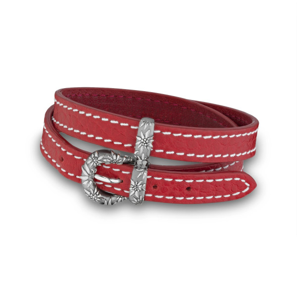 Gexist Edelweiss Leder Doppel-Armband Rot Silber - B-9015