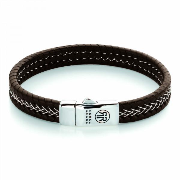 Rebel & Rose Armband Leder Silver Wired Brown