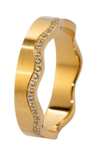 Veto Collect Edelstahlring Gold Welle/Gerade Zirkonia - R862