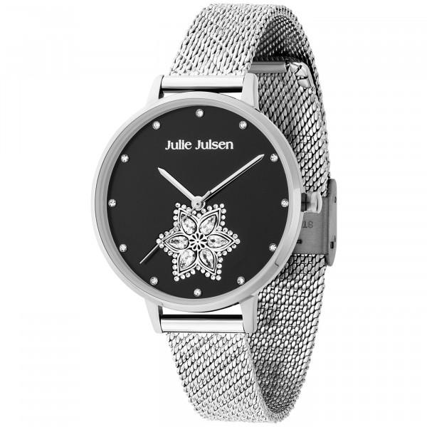 Julie Julsen Damenuhr Drop Flower Black Silver - JJW1174SME