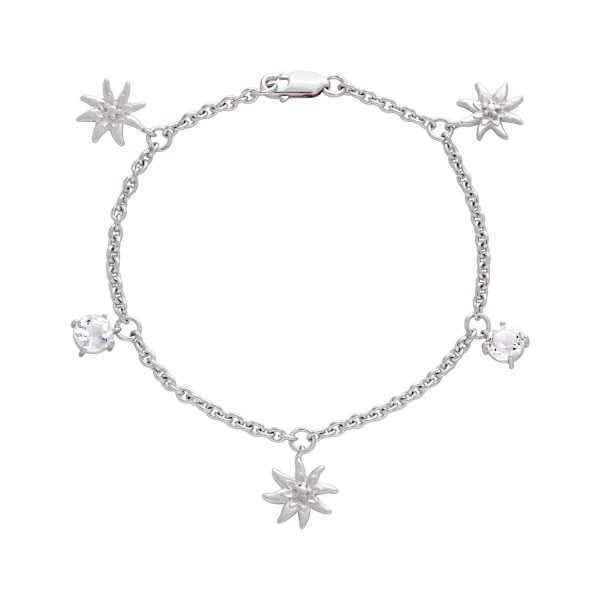 Swissrocks Armband Bergkristall Edelweiss - SR-912
