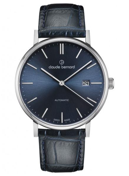 Claude Bernard Classic Automatic Slim Line Silber Blau - 80102-3-BUIN