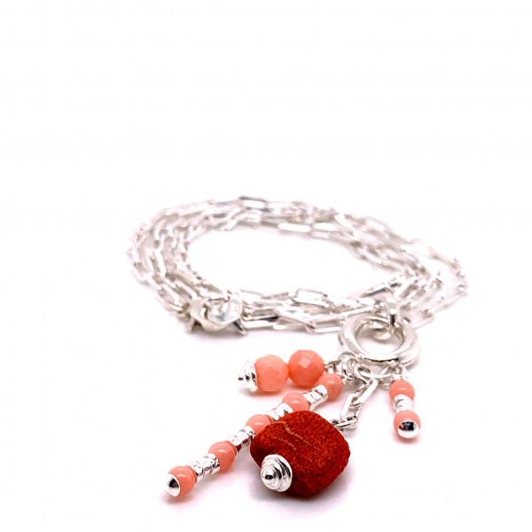 Halskette Peppy Koralle Silber - 88-2052-03