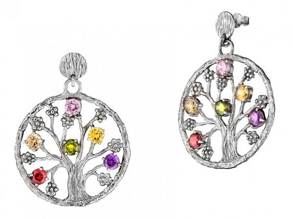 Ohrstecker, Lebensbaum Silber rhodiniert mit 6 Zirkonia bunt Ø 3,5 cm, Julie Julsen - JJER8724.1