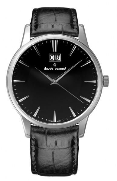 Claude Bernard Classic Big Date Silber Schwarz Quarz Uhr - 63003-3-NIN