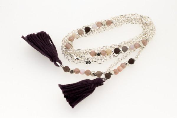 Halskette Engrave aus Silber und Stein Nude mit Baumwolle Quasten