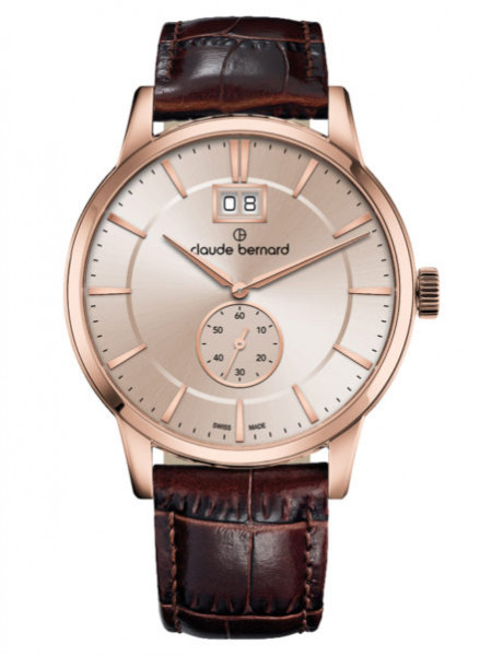 Claude Bernard Classic Big Date Small Second Rosegold Beige - (64005-3-AIR3)