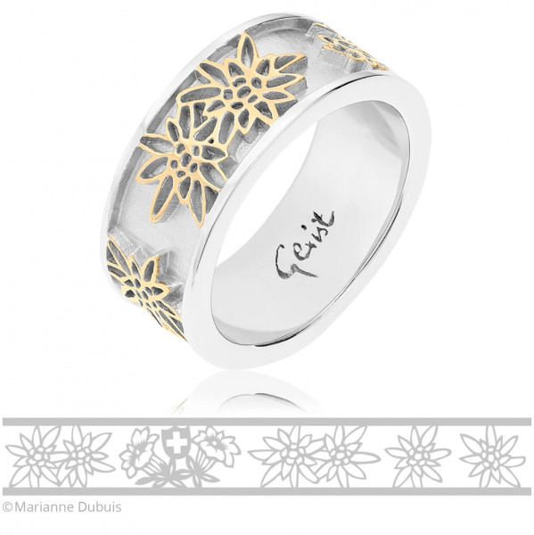 Gexist Swiss Edelweiss Ring Blume Bicolor