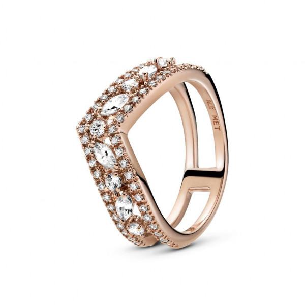 PANDORA Rose Ring Sparkling Double Wishbone - 189095C01