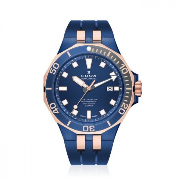 Edox Delfin Diver Date Automatic Rose Blue - 80110-357BURCA-BUIR