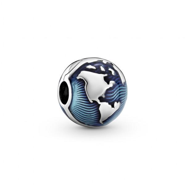 Pandora Charm Clip Blauer Globus.- 799429C01