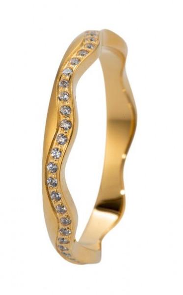 Veto Collect Edelstahlring Gold bombiert Zirkonia - R865