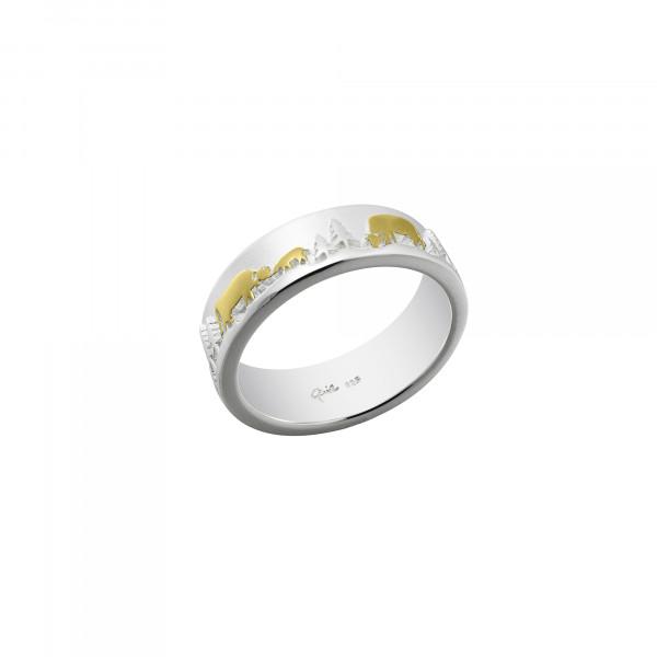 Ring Poya Kuh und Kalb Silber Gold - RG-9004