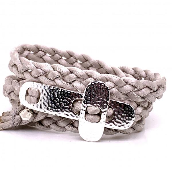 DaShanti Armband Perlmutt Seide geflochten