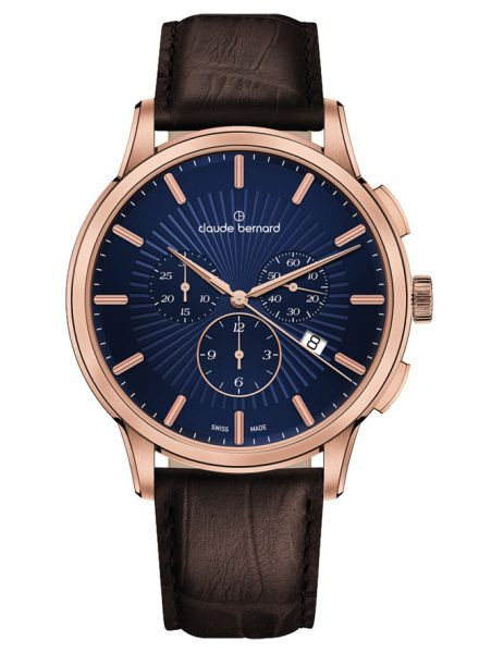 Claude Bernard Classic Chronograph Rose Blau - 10237-37R-BUIR