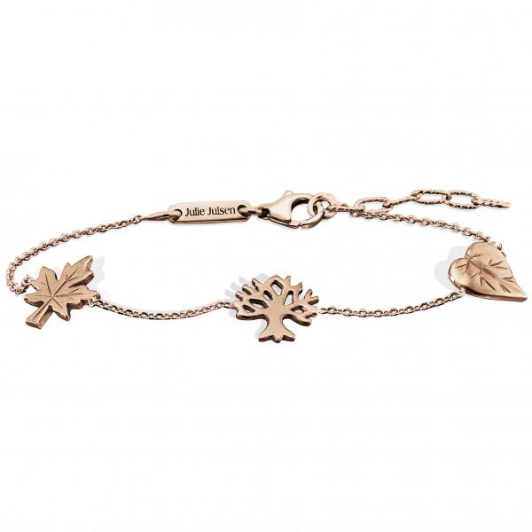 Silber Armband mit Blatt-Baum-Ahornblatt rosévergoldet, Julie Julsen Petite Collection - JJBR9825.4