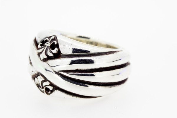 ElfCraft Ring solid Bands, 2 Lilies - E-847.077.0106-54