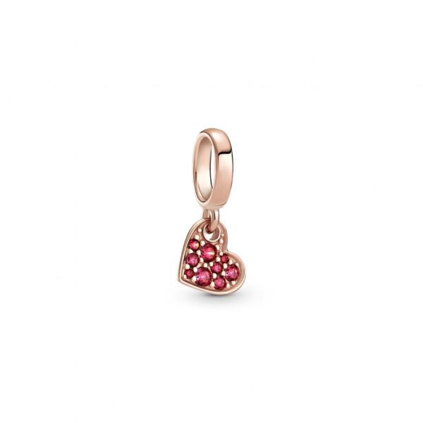 Pandora Rose Charm Anhänger Pavé Geneigtes Herz Rot - 789404C02