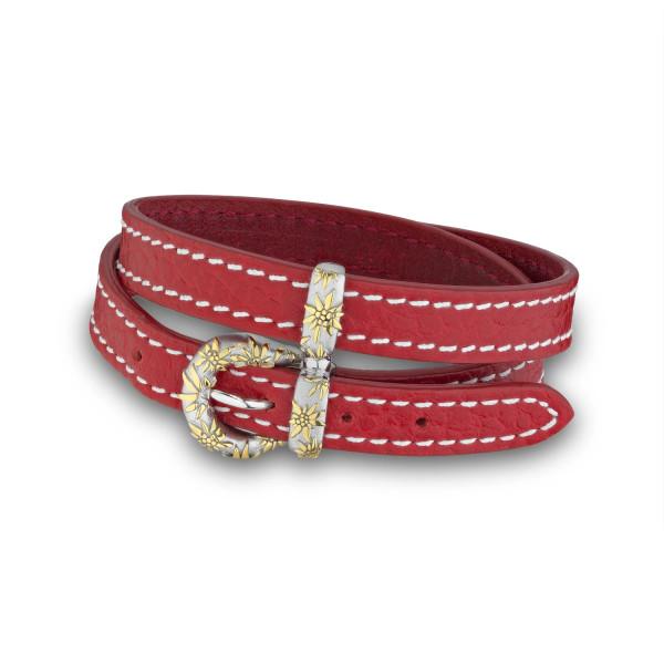 Gexist Edelweiss Leder Doppel-Armband Rot Bicolor - BG-9012