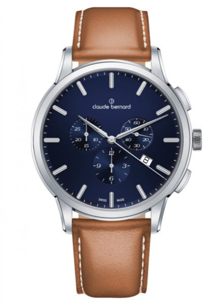Claude Bernard Schweizer Classic Chronograph Silber Blau (10237_3_BUIN1)