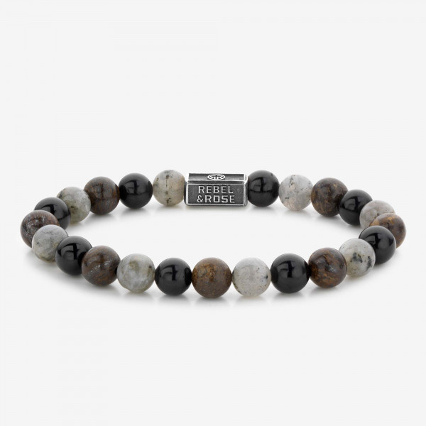 Rebel & Rose Armband Stones and Silver Mix Brown
