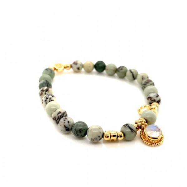 Damenarmband Neatly Jaspis Lindengrün Gold