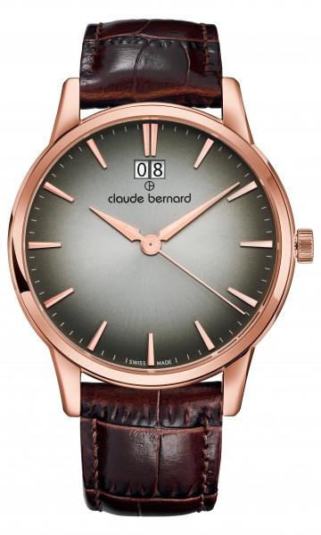 Claude Bernard Classic Big Date Rose Hellbraun- 63003-37R-DIR1