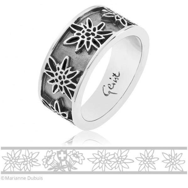 Gexist Swiss Edelweiss Ring Blume